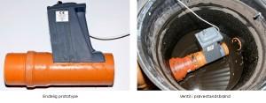 Den endelige prototype af højvandslukker og ventilen isat prøvestandsbrønd - klar til klimasikring